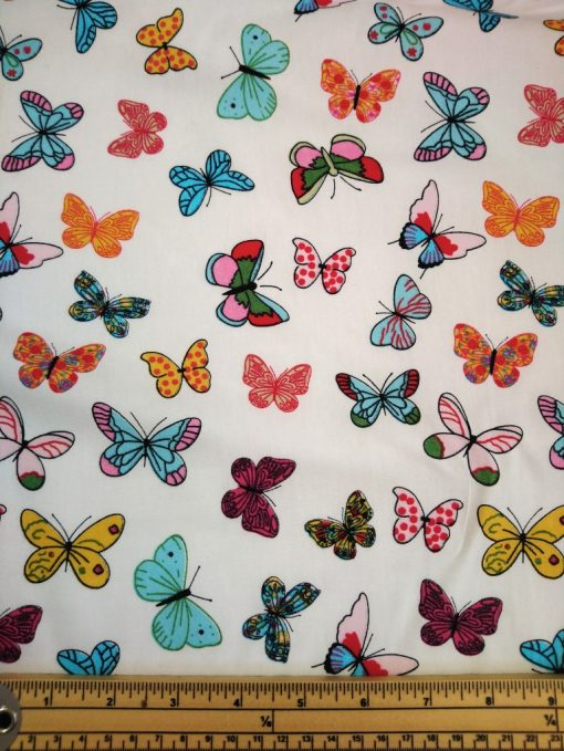 colourful bottuerfly print cotton poplin