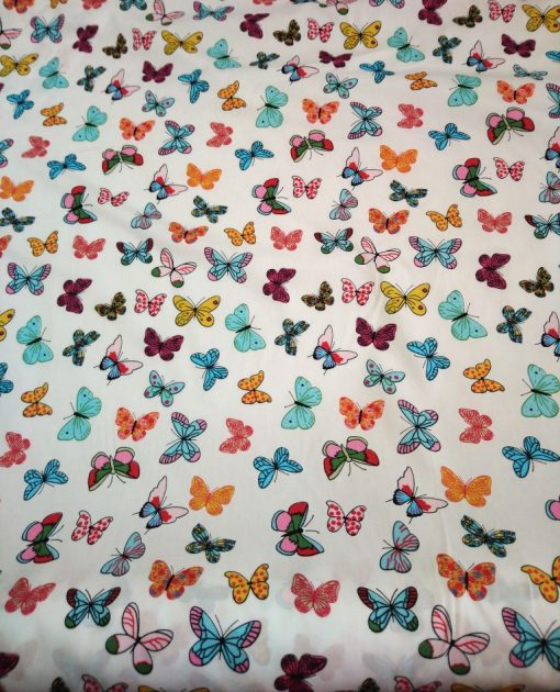 colourful butterfly print cotton poplin