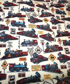 vintage train print cotton poplin