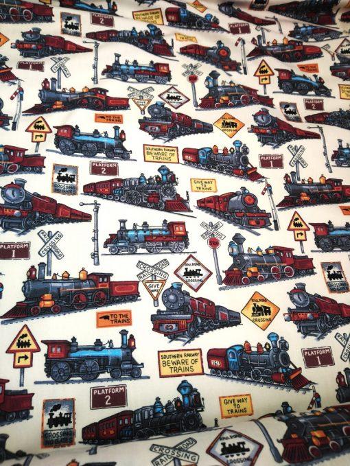 vintage train print cotton poplin