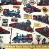 vintage train print fabric