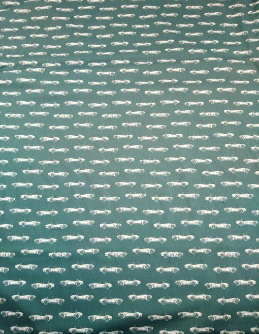 petrol green classic cars cotton poplin