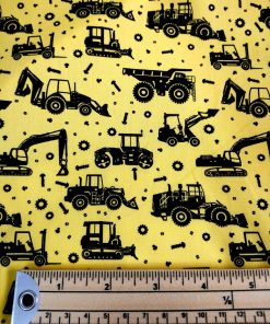 jcb digger cotton poplin yellow and black
