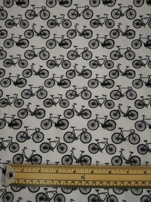 black and white bikes cotton poplin