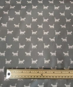 john louden grey silver cat print cotton poplin