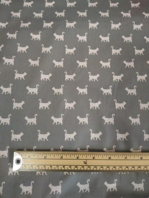 john louden grey silver cat print cotton poplin