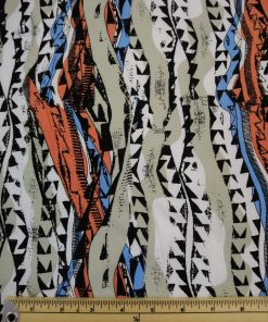 aztec print viscose orange and blue