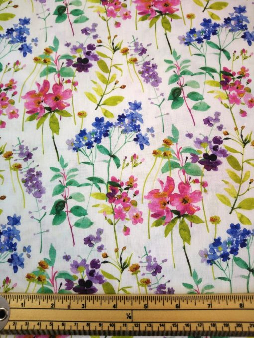 watercolour cotton pink blue and white