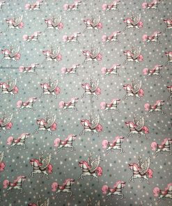 carousel cotton poplin grey and pink
