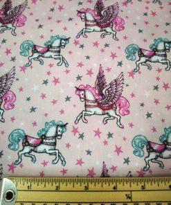 pink carousel cotton poplin