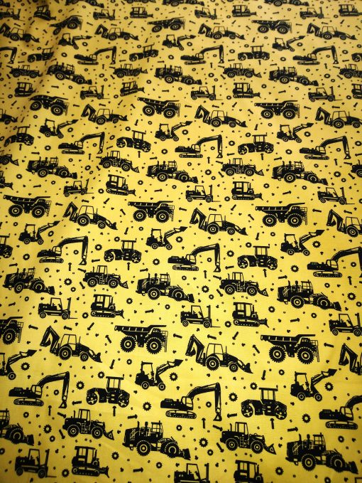 yellow and black cotton diggers and jcb