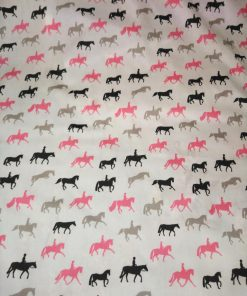 john louden dressage pink black and white cotton with horses