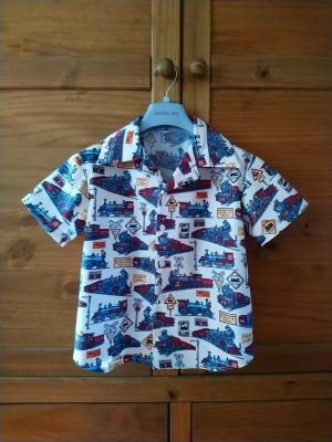 Simplicity 8180 mans and boys shirt pattern review vintage trains