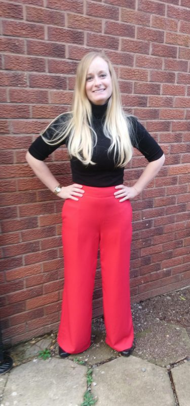 red crepe high waisted simple sew palazzo trousers pattern review