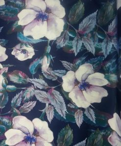 navy blue floral stretch polyester