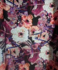 coral pink oriental floral stretch fabric material
