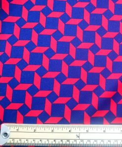 navy red geometric scuba strecth fabric material
